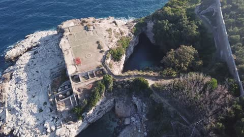 Drone footage of ruins near Sorrento, Italy