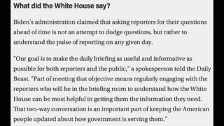 White House Asks Press To Submit Questions Before Briefings