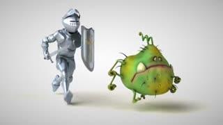 Knight running after Corona virus funny animation