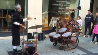 Street Performer Has Unique Drumming Skills -By Funny & Amazing Videos Follow US!!!!!!!!