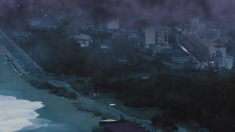 Monstrous Tornado on the Beach, destroying buildings