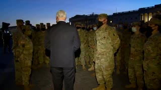 VP Pence Visits National Guard Outside US Capitol, Thanks Them for Their Service