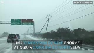 Tempestade de neve assustadora na Carolina do Norte