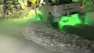 Pickup Truck Plows Through Powder