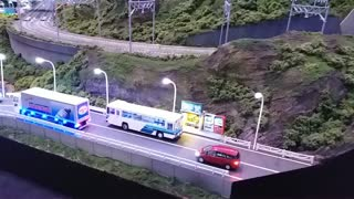 heavy traffic jam everywhere in this model train layout