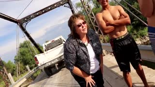 Karen Freaks Out on Guys Jumping From a Bridge