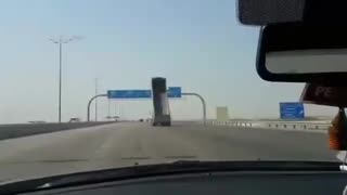Truck Crashes And Destroys Highway Sign