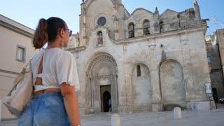 Matera Italy woman walking