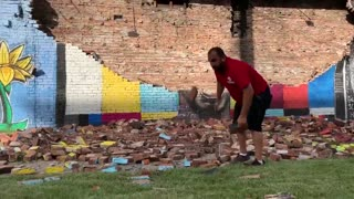 George Floyd Wall Mural Struck By Bolt of Lightning And Completely Destroyed