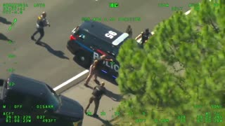 Helicopter View - Suspect Steals Police Cruiser Chase
