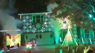 Neighborhood Christmas Lights Show in Texas with Fake Snow