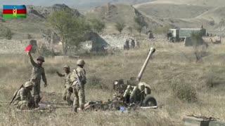 Imágenes de unidades de artillería militar de Azerbaiyán
