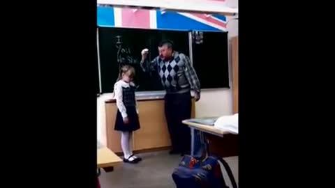 Russian girl kicked teacher's balls