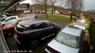 Man Steps on Boots Left Outside and Slams Car