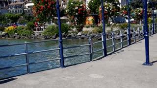 Walking in Switzerland in morge city