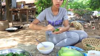 Primitive Technology_ Cooking skill Mung Bean dessert cake_Cooking skill_Khmer Survival Skills