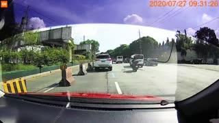 Bus Collides with Concrete Barrier