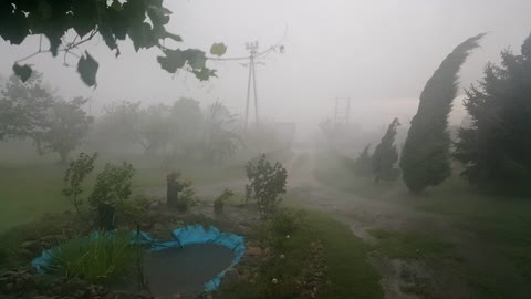 Extreme close-up footage of rare hurricane in Poland
