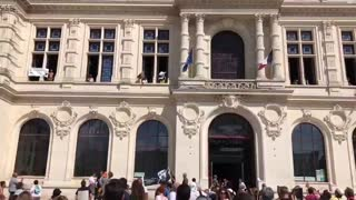 Poitiers,France: freedom protestors stormed the local Town Hall