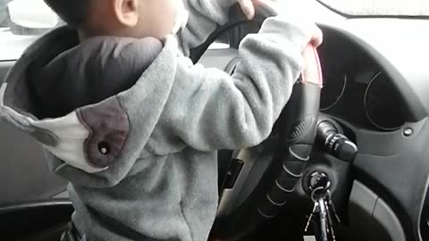 My son trying to drive ❤️
