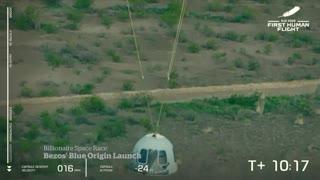 Jeff Bezos makes historic spaceflight with all-civilian crew