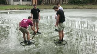 Careless Kids Play Unthinkable Game On Frozen Lake