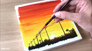 Daily Challenge #34 / Easy Art / Power lines at sunset painting