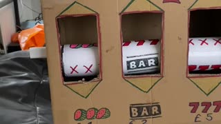 Man Creates Cardboard Slot Machine