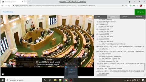 Footage of the 2021 Arkansas Legislator Midnight Session Rye forced to pull progun bill