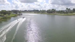 Water skiing with Drone filming