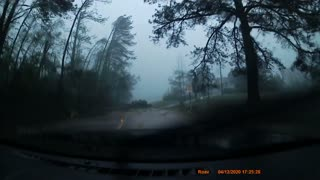 Driver Pulls Over During Tornado