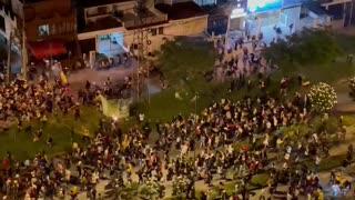 Protesta en la vía a Floridablanca