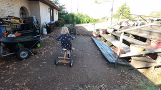Little Girl Loves Antique Tricycle!!!