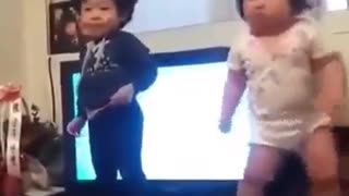 Funny baby crazy dance step