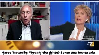 """Otto e mezzo, Marco Travaglio: """"Draghi tira dritto? Sento una brutta aria"""""""