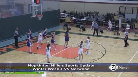 Week 1 Highlights: Hopkinton Hillers VS Norwood Mustangs Basketball, Hockey Jan 8 through 10 2021