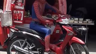 Spider-Man Spotted Selling Ice Cream