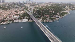Drone view of a bridge crossing a big river