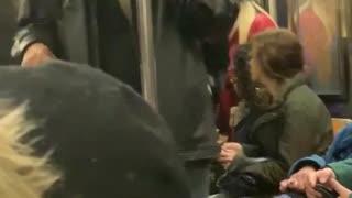 Three men sing gospel music on subway train