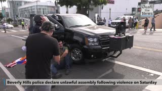 Beverly Hills police declare unlawful assembly following violence on Saturday