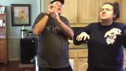 Father and daughter doing a happy dance - feel gooood!!!