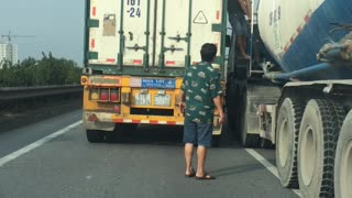 Girl Removed from Semi Truck