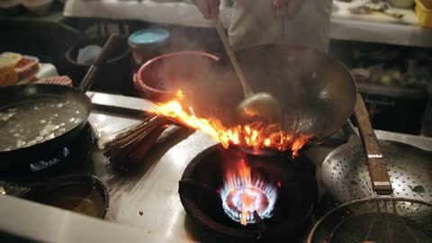 Cooking a crab dish in the kitchen