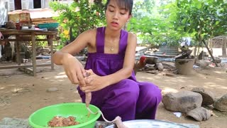 Primitive Technology_ Cooking skill Sausage Recipe _ Cooking skill _ Khmer Survival Skills