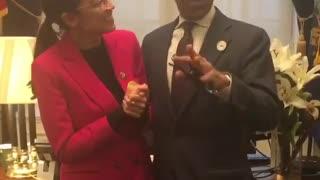Ocasio-Cortez dancing with Al Sharpton