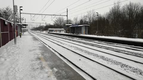 Train in a blizzard in prague