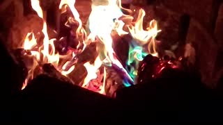 Colorful camp fire