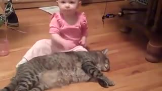 Cute Baby Tests Patience Of Cat - CUTE!
