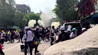 Myanmar security forces, protesters face off