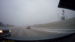 Icy Road Causes Truck Sliding Trouble